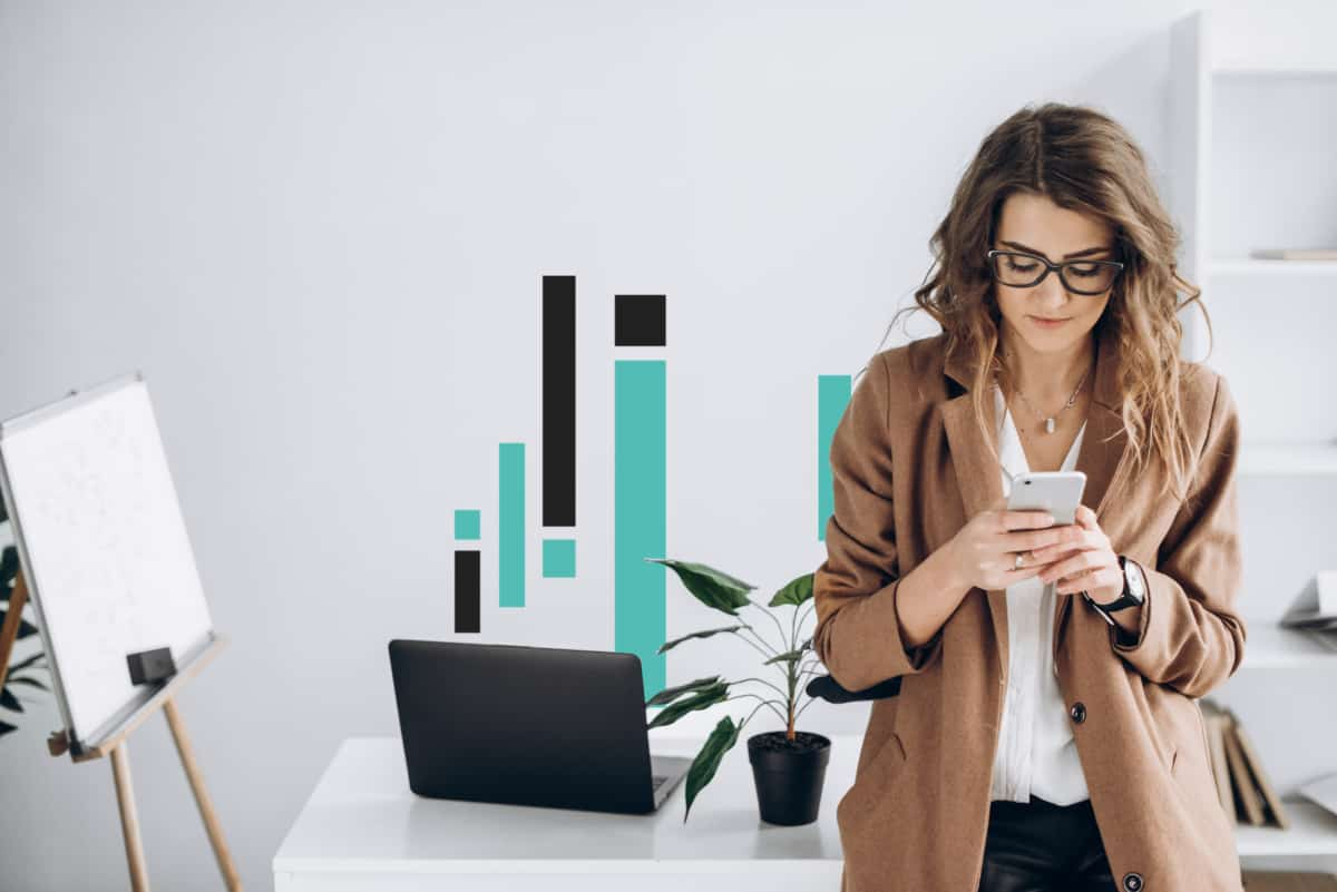 photo of a modern stylish girl which holding smartphone in her h